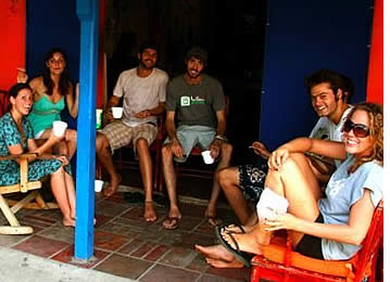 Travelers hanging out at Hostel Heike in Bocas del Toro, Panama