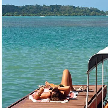 Enjoy the sun and the Caribbean Sea from the private dock at Bocas Surf School & Hostel in Bocas del Toro, Panama