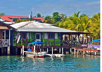 Bocas Surf School & Hostel over the Caribbean Sea in Bocas del Toro, Panama